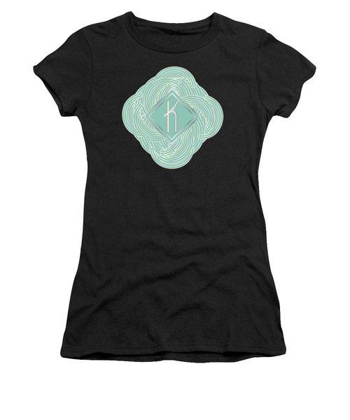 1920s Blue Deco Jazz Swing Monogram ...letter K Women's T-Shirt (Junior Cut) by Cecely Bloom