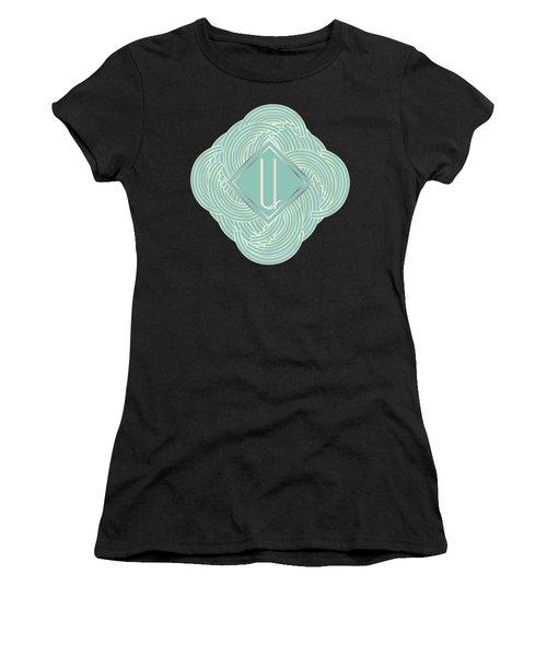 1920s Blue Deco Jazz Swing Monogram ...letter U Women's T-Shirt (Junior Cut) by Cecely Bloom