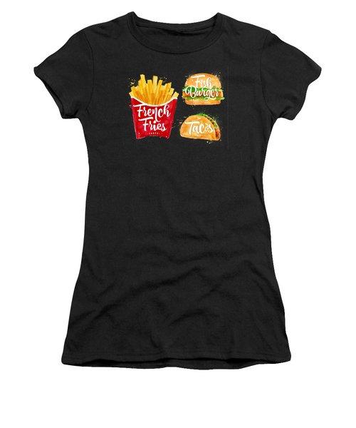 Black French Fries Women's T-Shirt (Junior Cut) by Aloke Design