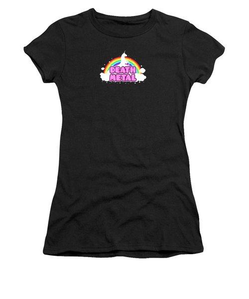 Death Metal Funny Unicorn  Rainbow Mosh Parody Design Women's T-Shirt (Junior Cut) by Philipp Rietz