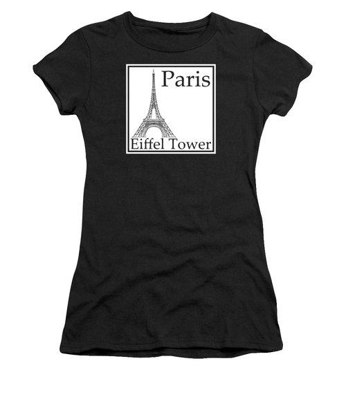 Eiffel Tower In White Women's T-Shirt (Junior Cut) by Custom Home Fashions