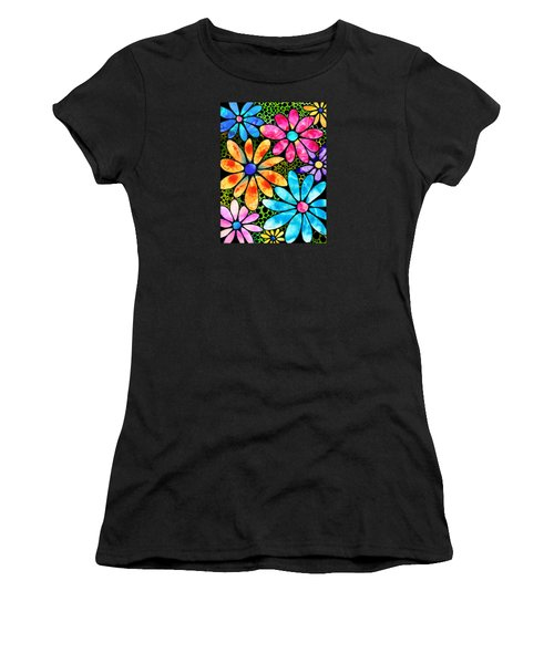 Floral Art - Big Flower Love - Sharon Cummings Women's T-Shirt (Junior Cut) by Sharon Cummings