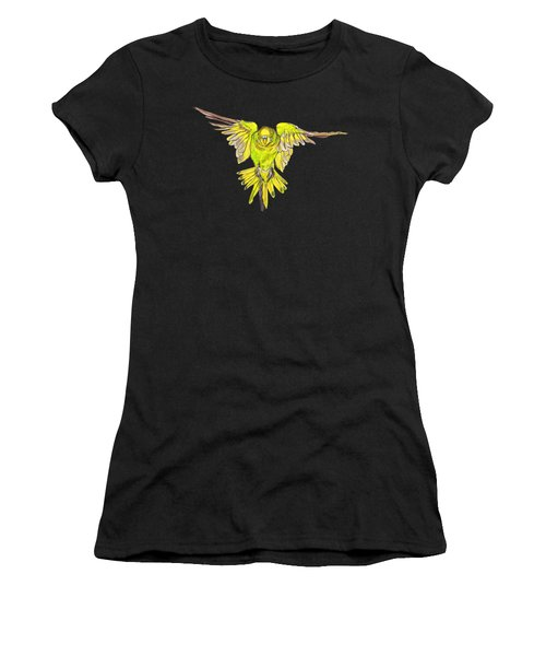 Flying Budgie Women's T-Shirt (Junior Cut) by Lorraine Kelly