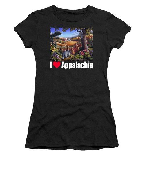 I Love Appalachia T Shirt - Coon Gap Holler 2 - Country Farm Landscape Women's T-Shirt (Junior Cut) by Walt Curlee