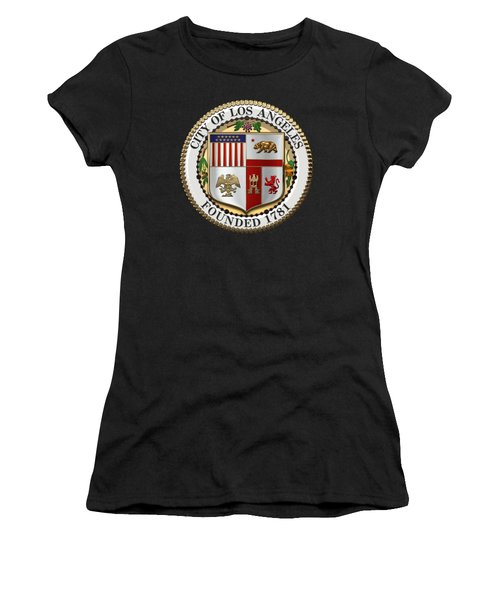 Los Angeles City Seal Over Black Velvet Women's T-Shirt (Junior Cut) by Serge Averbukh
