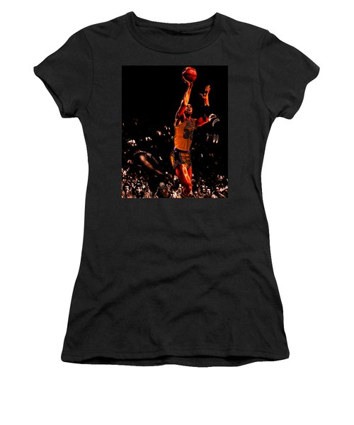Magic Johnson Lean Back II Women's T-Shirt (Junior Cut) by Brian Reaves