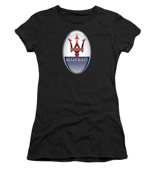 Maserati - 3d Badge On Black Women's T-Shirt (Junior Cut) by Serge Averbukh