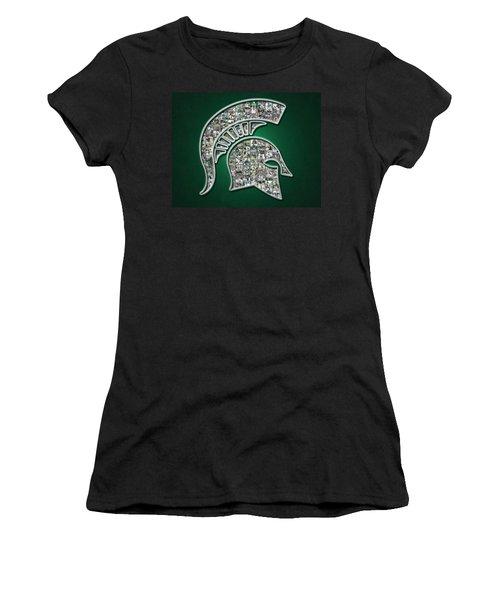 Michigan State Spartans Football Women's T-Shirt (Junior Cut) by Fairchild Art Studio