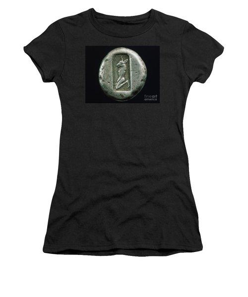 Minotaur On A Greek Coin Women's T-Shirt (Junior Cut) by Granger