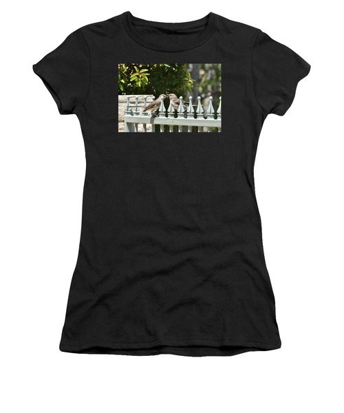 Mr And Mrs Mockingbird With Worms Women's T-Shirt (Junior Cut) by Linda Brody