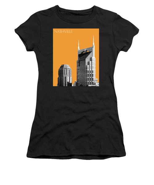Nashville Skyline At And T Batman Building - Orange Women's T-Shirt (Junior Cut) by DB Artist