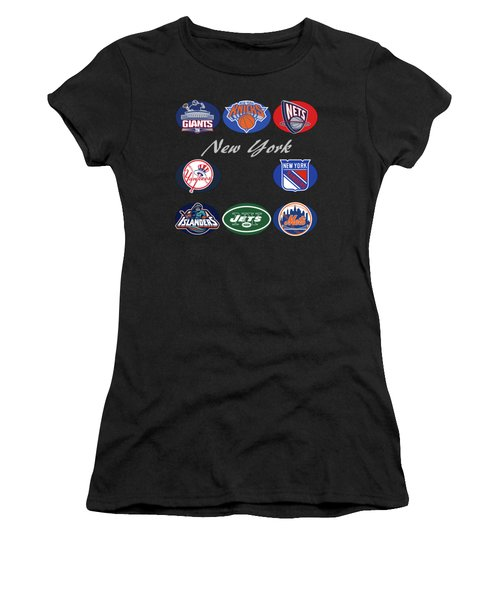 New York Professional Sport Teams Collage  Women's T-Shirt (Junior Cut) by Movie Poster Prints