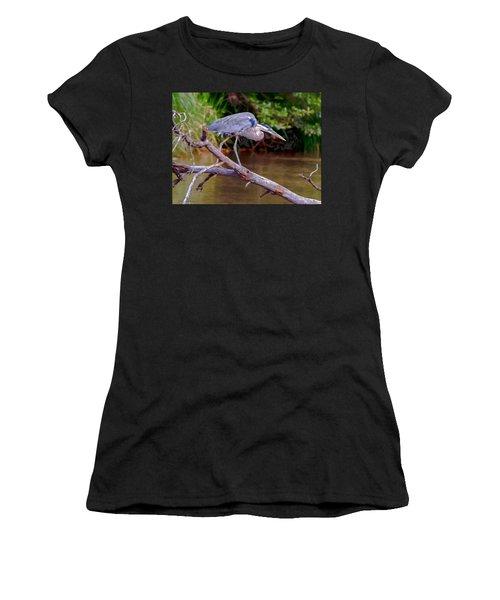 Painting Blue Heron Oak Creek Women's T-Shirt (Junior Cut) by Dr Bob Johnston