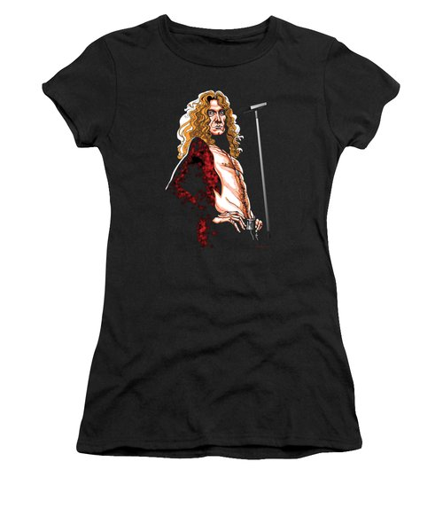 Robert Plant Of Led Zeppelin Women's T-Shirt (Junior Cut) by GOP Art