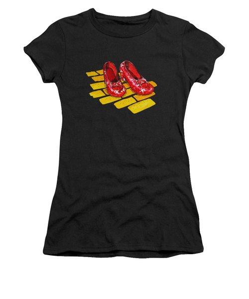 Ruby Slippers From Wizard Of Oz Women's T-Shirt (Junior Cut) by Irina Sztukowski