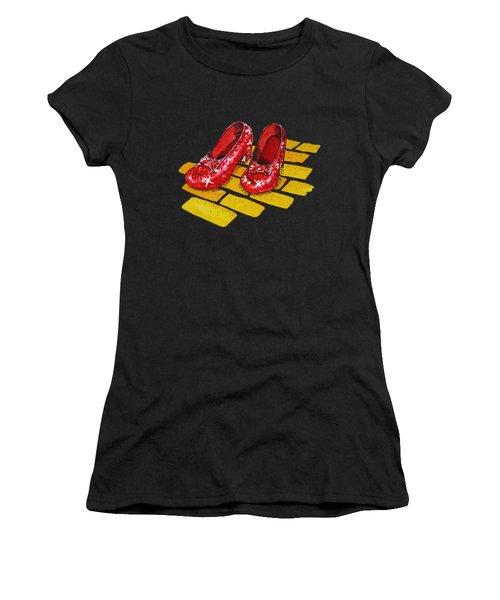 Ruby Slippers The Wonderful Wizard Of Oz Women's T-Shirt (Junior Cut) by Irina Sztukowski