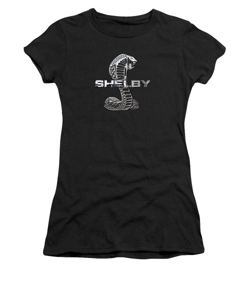 Shelby Cobra - 3d Badge On Black Women's T-Shirt (Junior Cut) by Serge Averbukh