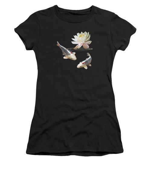 Silver And Red Koi With Water Lily Vertical Women's T-Shirt (Junior Cut) by Gill Billington