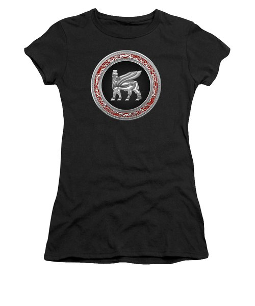 Silver Babylonian Winged Bull  Women's T-Shirt (Junior Cut) by Serge Averbukh