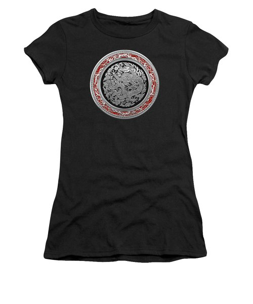 Sliver Chinese Dragon On Black Velvet Women's T-Shirt (Junior Cut) by Serge Averbukh