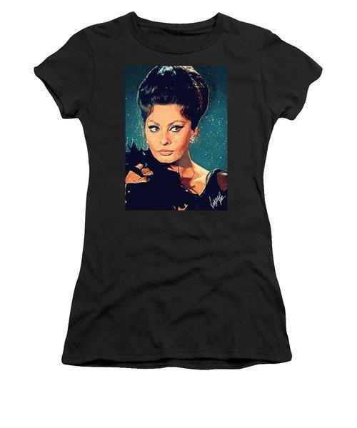Sophia Loren Women's T-Shirt (Junior Cut) by Taylan Apukovska