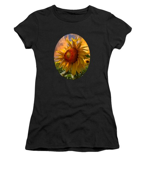 Sunflower Dawn In Oval Women's T-Shirt (Junior Cut) by Debra and Dave Vanderlaan