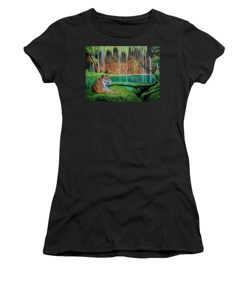 Tiger At The Waterfall  Women's T-Shirt (Junior Cut) by Manuel Lopez