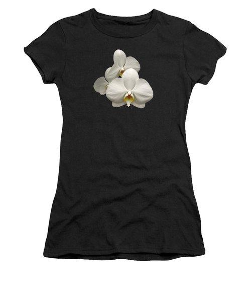White Orchids Women's T-Shirt (Junior Cut) by Rose Santuci-Sofranko