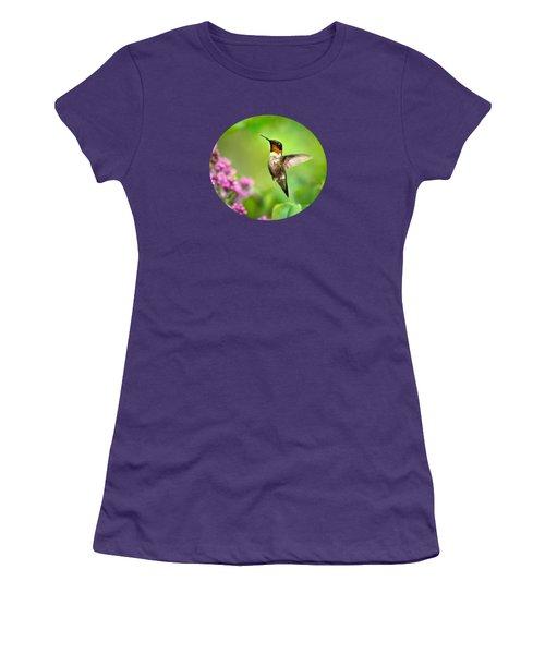 Welcome Home Hummingbird Women's T-Shirt (Junior Cut) by Christina Rollo