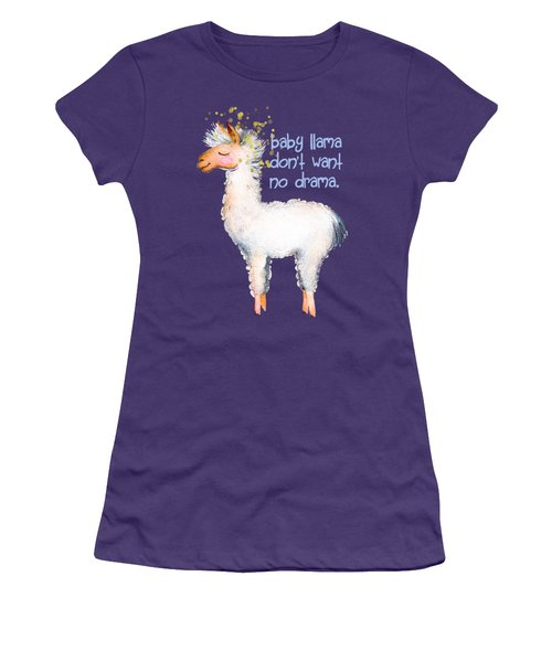 Baby Llama Don't Want No Drama Women's T-Shirt (Junior Cut) by Tina Lavoie