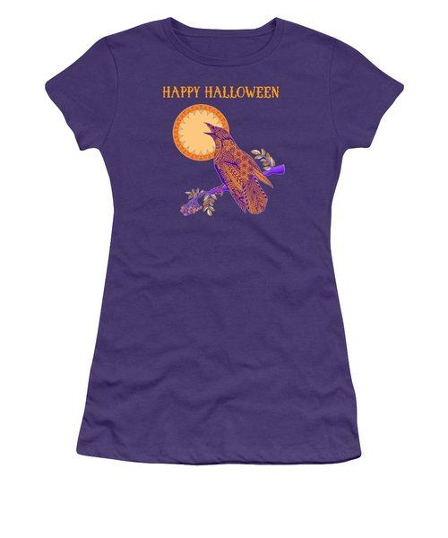 Halloween Crow And Moon Women's T-Shirt (Junior Cut) by Tammy Wetzel