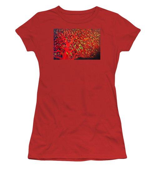 About 180 Orange Bellied Parrots  Women's T-Shirt (Junior Cut) by Charlie Baird