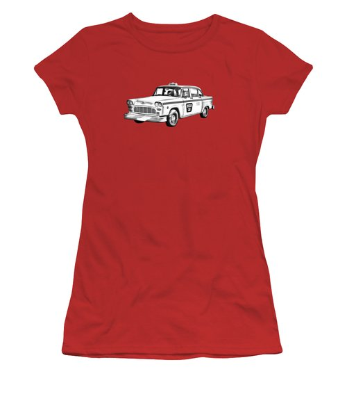 Checkered Taxi Cab Illustrastion Women's T-Shirt (Junior Cut) by Keith Webber Jr