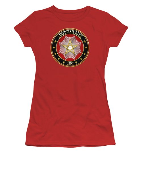 28th Degree - Knight Commander Of The Temple Jewel On Red Leather Women's T-Shirt (Junior Cut) by Serge Averbukh
