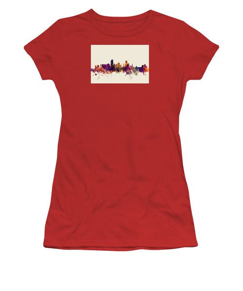 Miami Florida Skyline Women's T-Shirt (Junior Cut) by Michael Tompsett