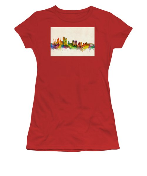 Sydney Australia Skyline Women's T-Shirt (Junior Cut) by Michael Tompsett