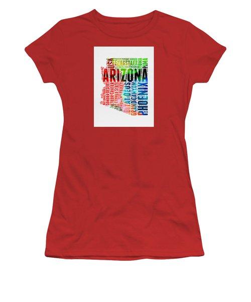 Arizona Watercolor Word Cloud Map  Women's T-Shirt (Junior Cut) by Naxart Studio