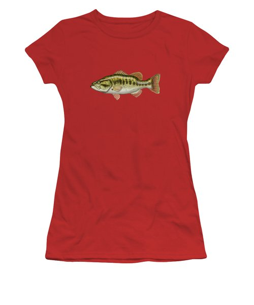 Largemouth Bass On Red Leather Women's T-Shirt (Junior Cut) by Serge Averbukh