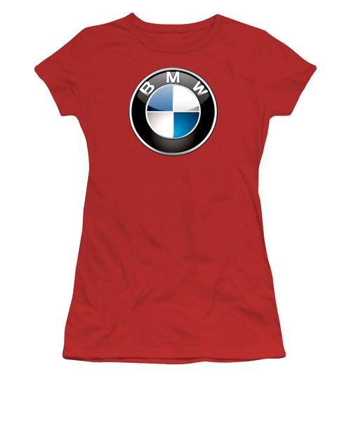 B M W Badge On Red  Women's T-Shirt (Junior Cut) by Serge Averbukh
