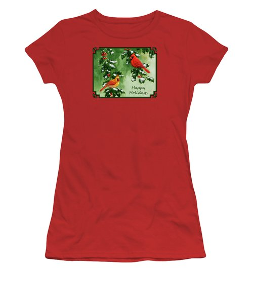 Cardinals Holiday Card - Version With Snow Women's T-Shirt (Junior Cut) by Crista Forest