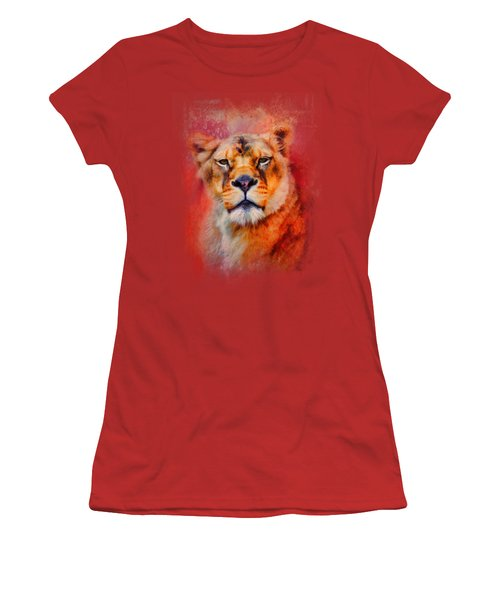 Colorful Expressions Lioness Women's T-Shirt (Junior Cut) by Jai Johnson