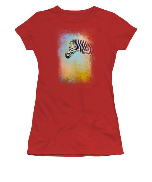 Colorful Expressions Zebra Women's T-Shirt (Junior Cut) by Jai Johnson