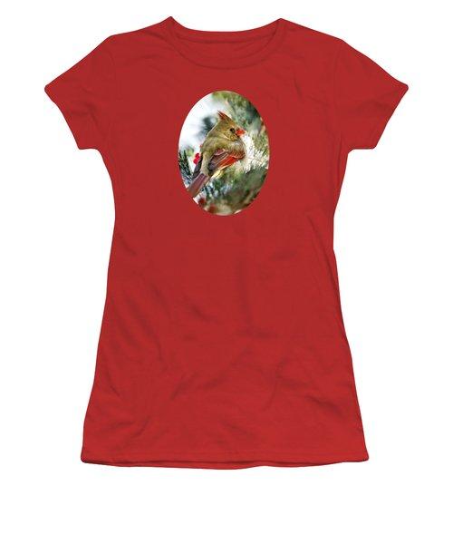 Female Northern Cardinal Women's T-Shirt (Junior Cut) by Christina Rollo