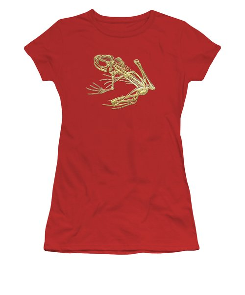 Frog Skeleton In Gold On Red  Women's T-Shirt (Junior Cut) by Serge Averbukh