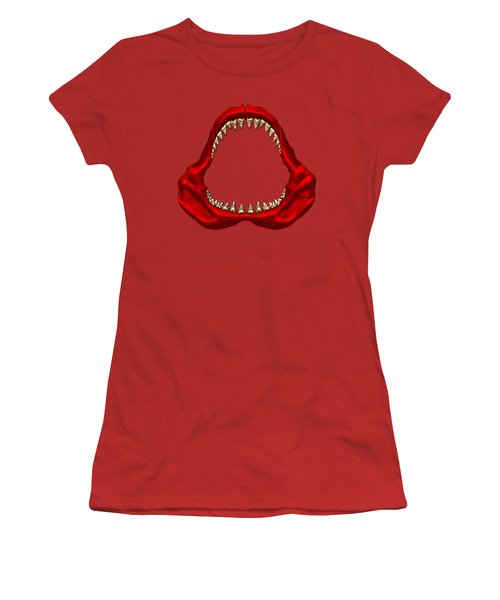 Great White Shark - Red Jaws With Gold Teeth On Red Canvas Women's T-Shirt (Junior Cut) by Serge Averbukh