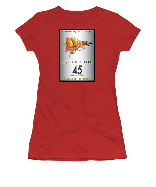 Greyhound 45 Mph Beer Women's T-Shirt (Junior Cut) by John LaFree