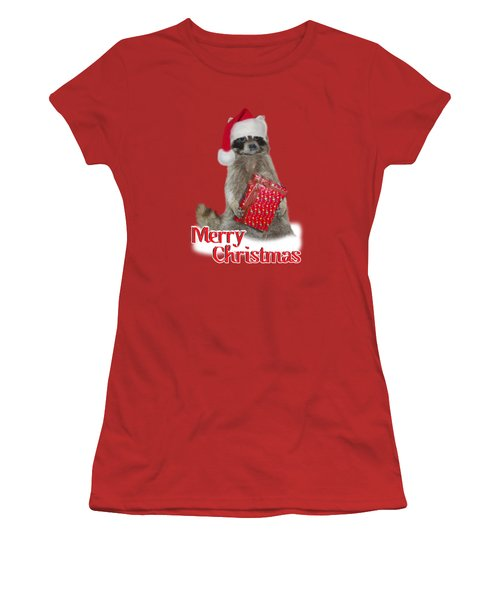 Merry Christmas -  Raccoon Women's T-Shirt (Junior Cut) by Gravityx9 Designs