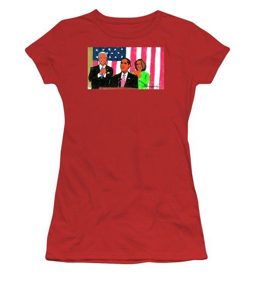 Obama's State Of The Union '10 Women's T-Shirt (Junior Cut) by Candace Lovely