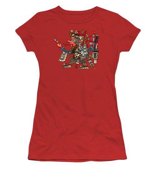 Quetzalcoatl In Human Warrior Form - Codex Borgia Women's T-Shirt (Junior Cut) by Serge Averbukh