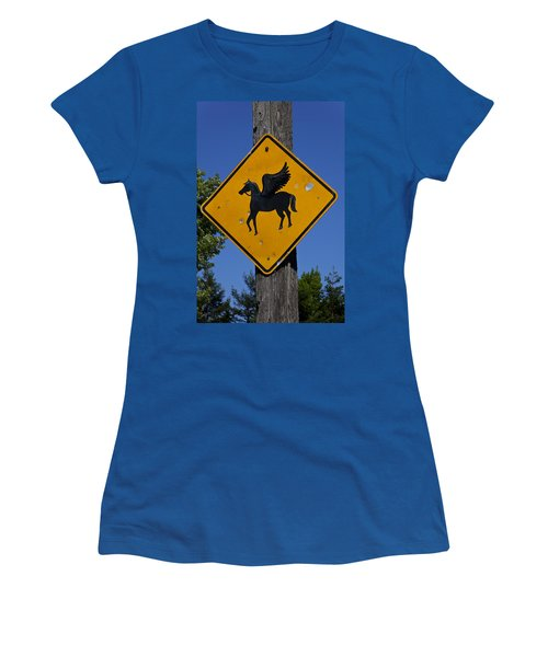 Pegasus Road Sign Women's T-Shirt (Junior Cut) by Garry Gay